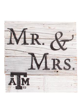 Texas A&M Aggie Mr & Mrs Wooden Block