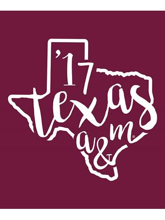 Texas A&M Aggie Curly Print '17 Decal