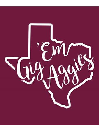 Texas A&M Aggie Gig 'Em Curly Print Decal
