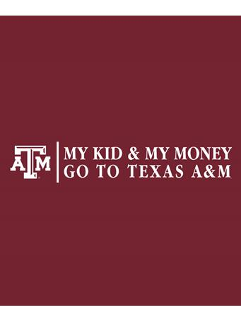 Texas A&M Aggie My Kid My Money Decal