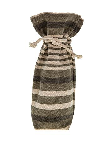 Striped Drawstring Wine Bag
