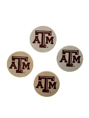 Texas A&M Natural Sandstone Coaster Set