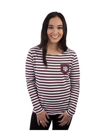 Texas A&M Aggies Elbow Patch Striped Top