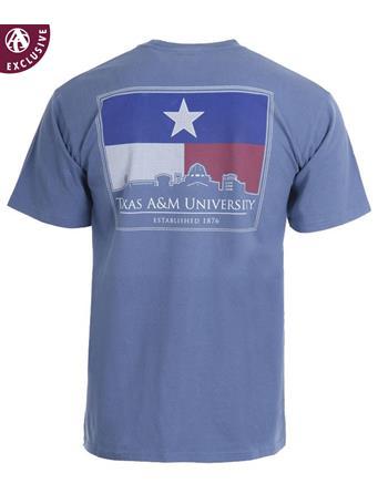 Texas A&M Aggies Texas Flag College Station Skyline T-Shirt