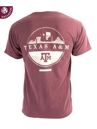 Texas A&M Skyline Circle Design T-Shirt