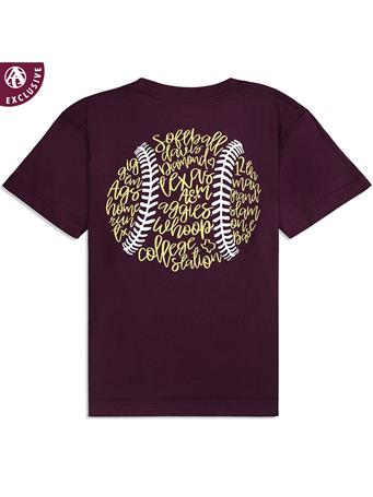 Texas A&M Youth Softball Outline Short Sleeve T-Shirt