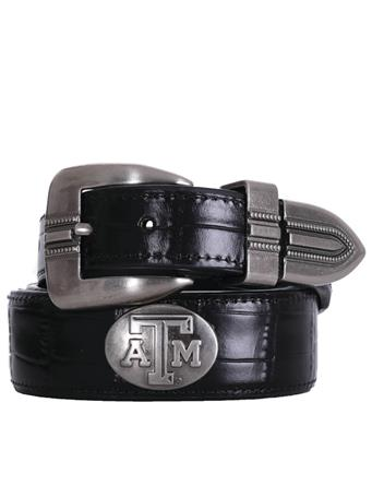 Texas A&M Aggie Leather Croc Concho Belt