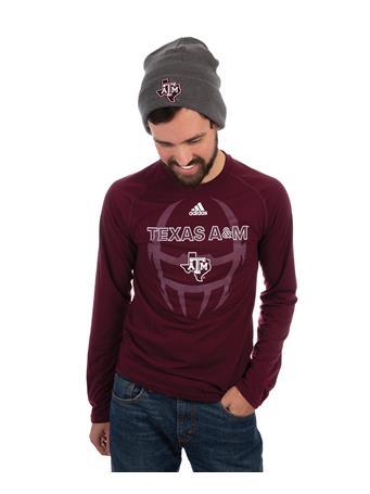 Adidas Texas A&M LS Helmet Football Tee