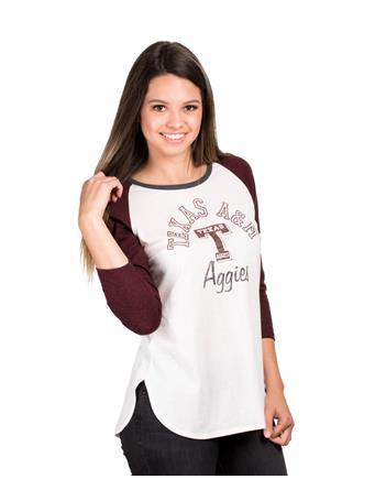 Texas A&M Arch Script '47 Splitter Raglan T-Shirt