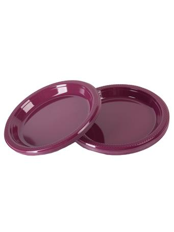 Maroon 20-count Plastic Plates