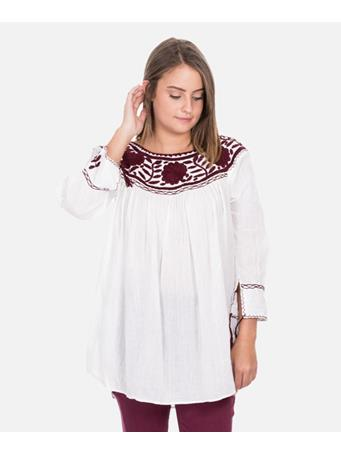 Nativa Maroon & White Round Neck Blouse