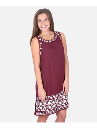 Maroon Escapada Embroidered Bethany Dress