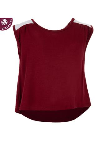 Maroon & White Lace Infant Tank