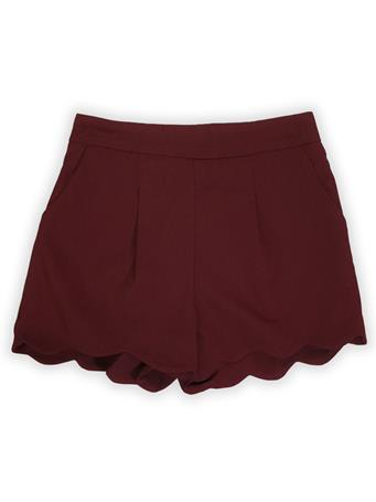 Maroon Pleated Scalloped Hem Mini Shorts