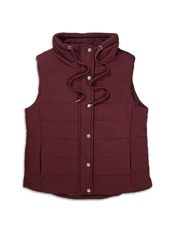 Maroon French Terry Mock Neck Vest