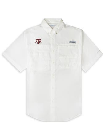Texas A&M Columbia Tamiami Short Sleeve White Fishing Shirt