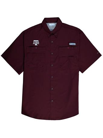 Texas A&M Columbia Tamiami Short Sleeve Button Down Shirt