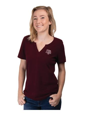 Texas A&M Cutter & Buck Rally Split Neck Top