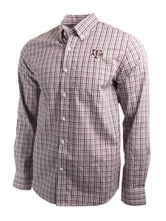 Cutter & Buck Texas A&M Epic Gilman Plaid Button Down Shirt