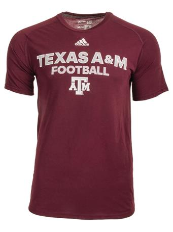 Texas A&M Adidas Short Sleeve Sideline Football Tee