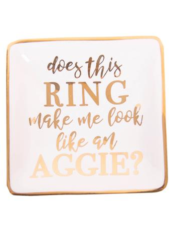 Square Gold Aggie Ring Dish