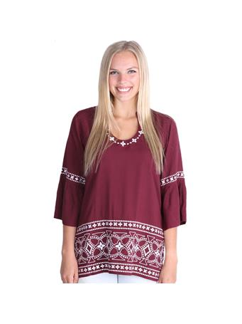 Maroon Escapada Three Quarter Sleeve Finn Top