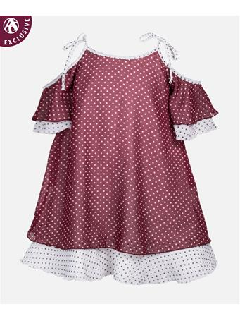 Maroon & White Dotted Youth Dress