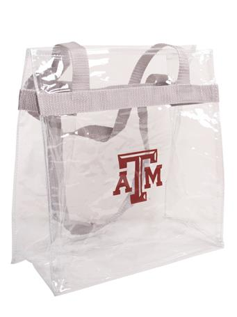 Texas A&M Clear Plastic Tote with Grey Strap