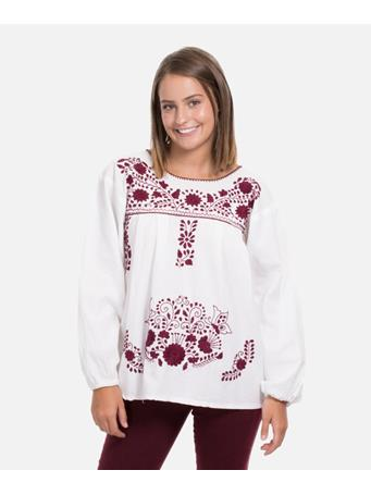 Nativa Long Sleeve Floral Embroidered Blouse