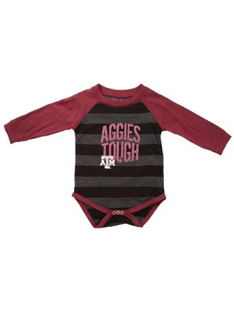 Texas A&M Aggies Tough Striped Raglan Onesie