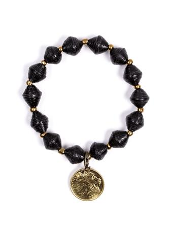 Adera Paper Bead Bracelet With Coin