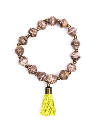 Adera Paper Bead Bracelet With Tassel