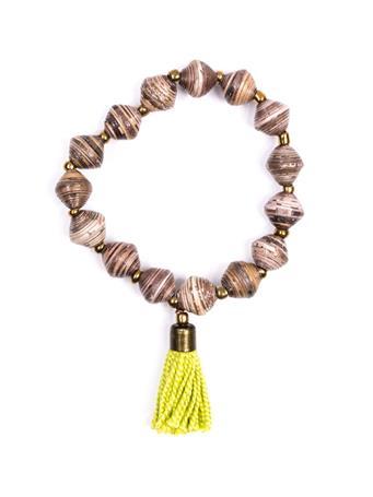 Adera Paper Bead Bracelet With Tassel