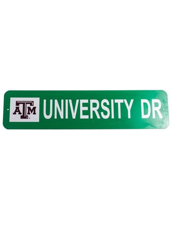 Texas A&M University Drive Metal Sign