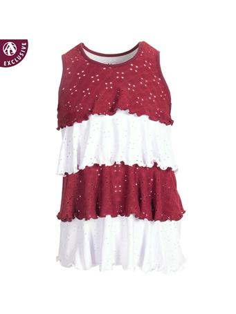 Maroon and White Striped Made in College Station Ruffle Layer Dress