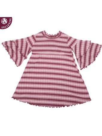 Maroon Striped Made in College Station Ruffle Bell Sleeve Dress