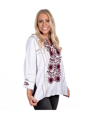 Maroon Embroidered Nativa Rosa Blouse