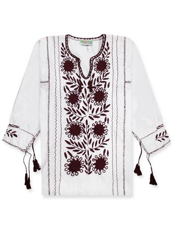 Nativa Maroon Embroidered Rosa Blouse