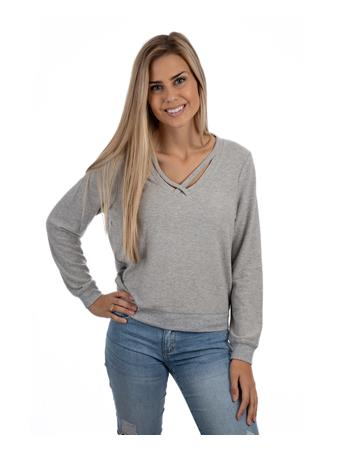 Soft Spun Knit Cross Front Pullover