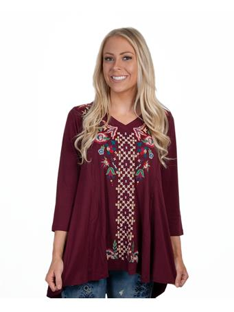 Maroon Caite Holly Embroidered Tunic