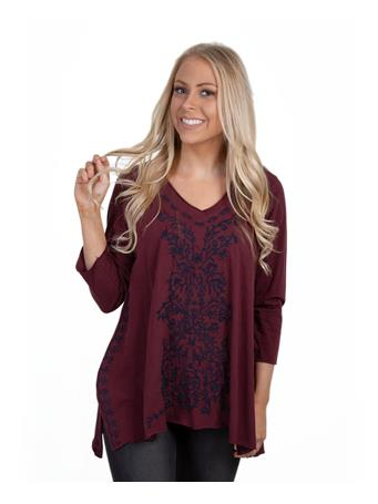 Maroon Caite Embroidered Tunic