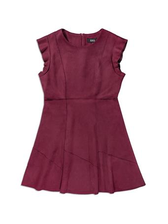 Maroon Velvet Women's Short Sleeve Dress