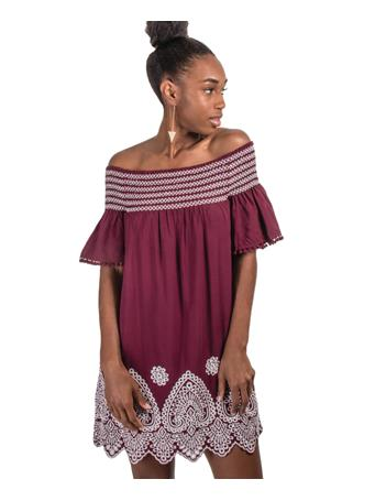 Maroon Joy Joy Smocking Dress