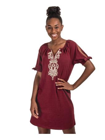 Maroon Dress with Gold Embroidered