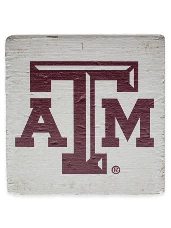 Texas A&M Square Rustic Wooden Block