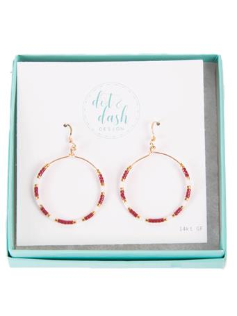 Maroon And White Morse Code Hoop Earrings