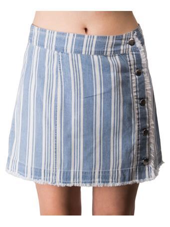 Ivanna Blue Button Up Stripped Skirt