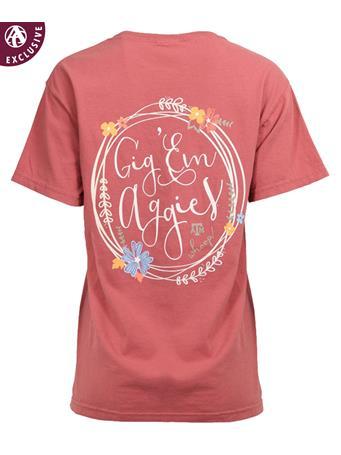Texas A&M Floral Circle Gig 'Em T-Shirt