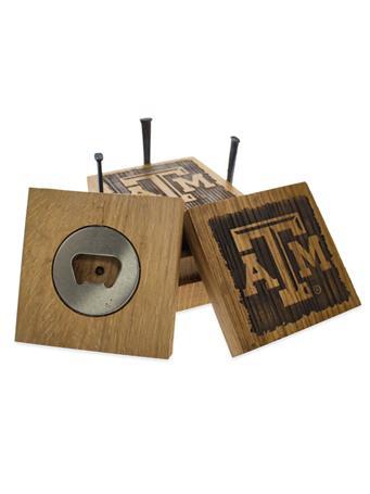 Texas A&M Beveled Logo Wine Barrel Coaster Set