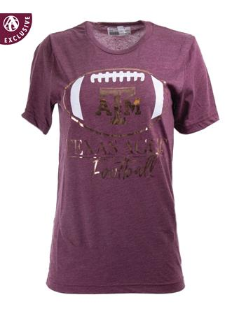 Texas A&M Aggies Rose Gold Football T-Shirt